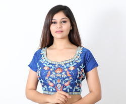 Silk Sleeveless Embroidered Blouse