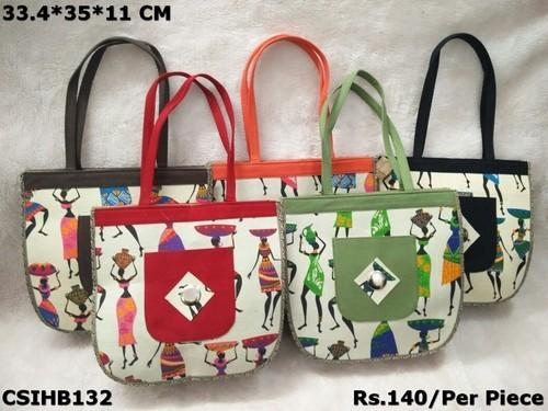CS International Jute Printed Handbag