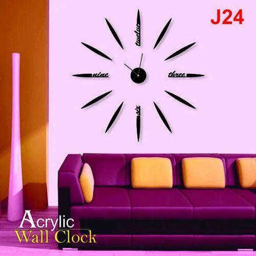 Black Decorative Acrylic Wall Clock, Rs 750 /piece, JD Multi | ID ...