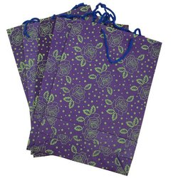 Purple Printed Paper Carry Bags