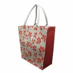 OFF WHITE AND ORANGE Printed JL-1022 Jute Ladies Bag, Size: 30x35x15 Cm, Capacity: 10 Kg