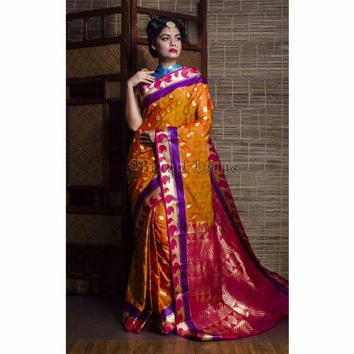 5adeda0c87b Art Silk Kanjivaram Saree in Orange and Rani at Rs 3500  piece ...