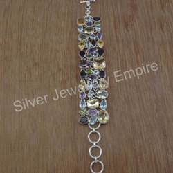 Blue Topaz Multi Gemstone Jewelry 925 Sterling Silver Fine Bracelet