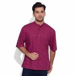 Multicolor Linen & Cotton Mens Short Kurta, Chinese, Size/Dimension: M-XXL