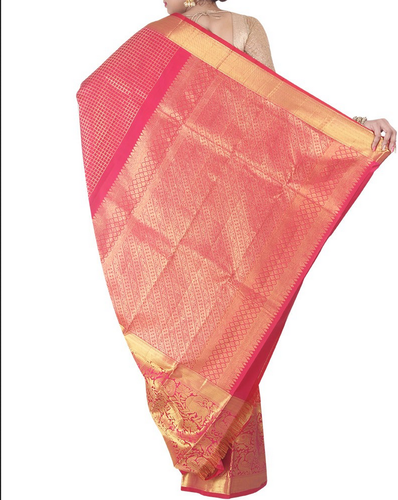 04fe8afedfd247 Simaaya Pink Silk Kanjivaram Saree In Pink Colour, Rs 30345 /piece ...