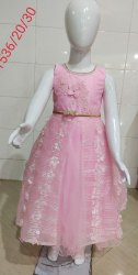 Party Wear Long Frock Girls Cotton Pink Sleeveless Frock, Age Group: 3-9 Years