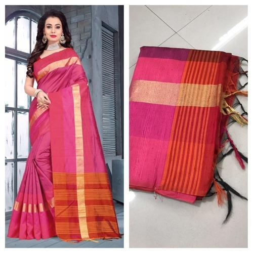 Raw Silk Saree, Length: 6.3 m
