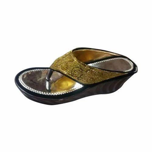 9d72a7742 Golden And Black Ladies Party Wear Faux Leather Platform Sandal ...
