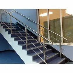 Bar Silver Residential Staircase SS Railing, For Home