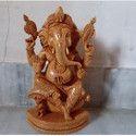 Hand Carved Wooden Ganesha Statue