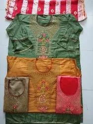 Cotton Embroidery Semi Stitched Suit