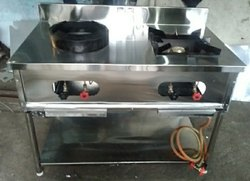 Silver Stainless Steel Two Burner Gas Batti, Size: 4'x2', Model Name/Number: Lpg H I 2