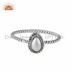 Pear Shape Natural Pearl Gemstone Oxidized Sterling Silver Rings Supplier