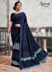 Blue Color Designer Lycra Frill Saree