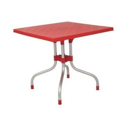 Red Supreme Plastic Dining Table, Size/Dimension: 820x790x790mm