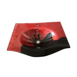 Red and Black Glass Wash Basin