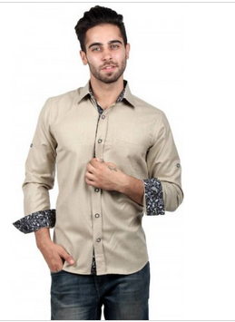 d785e0e9198 Men s Solid Casual Beige Shirt