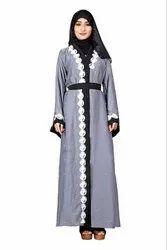 Women's Nida Front Open Style Islamic Abaya Burka with Chiffon Hijab and Waist Belt