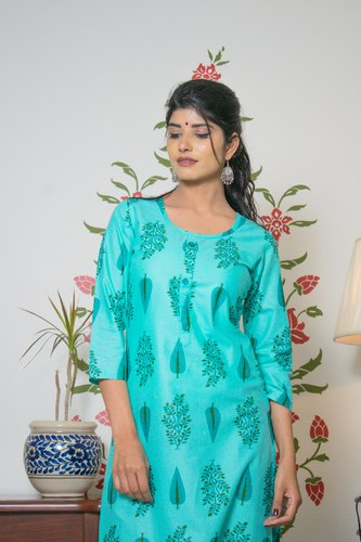Casual Wear Stretchable Philauri Blue Basic Cotton Printed Straight Kurti