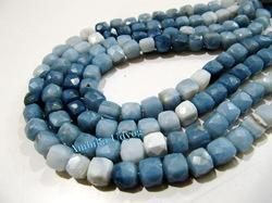 Blue Opal Cube Shape Beads
