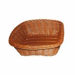 Brown Square Plastic Cane Effect Basket (Big), Size/Dimension: 19 X 19 X 7 Cm, 69