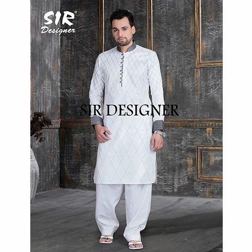 b429628e166 Cotton White Designer Pathani Kurta Pajama