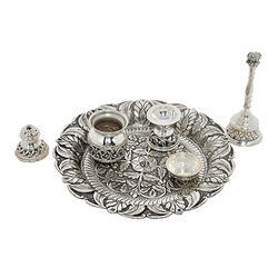 Silver Antique Pooja Set