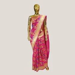 Rani Flower Boota Katan Silk Saree