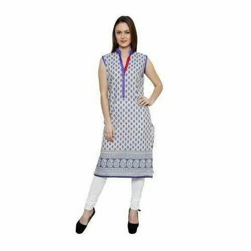 Straight Cotton Designer Embroidered Rayon Kurti