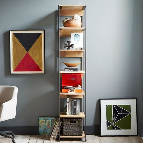 bookchase shelf bookcase in concrete wood office open bookshelf home the gray unfinished furniture depot bookcases