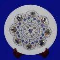 Marble Inlay Plate Pietra Dura White Stone