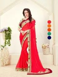 Pink Party Wear Paridhi Two Tone Rangoli Silk Saree, 6.30 Mtrs (With Blouse)