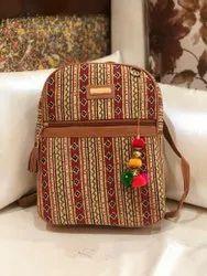 Multicolor Cotton Ikkat Backpack, Size: 13