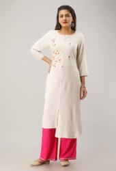 Straight Casual Light Weight Rayon Embroidered Kurtis