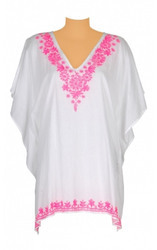 Embroidered V-Neck Beachwear Kaftan