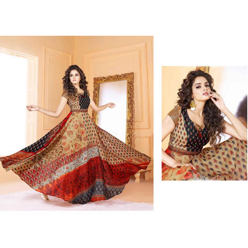 L (40 Inch) And XL (42 Inch) Digital Printed Ladies Party Wear Gown