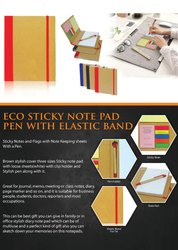 Eco Sticky Note Pad Pen With Elastic Band - Giftana