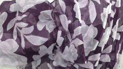 Purple and Black Printed Chiffon Fabric, Use: Garments