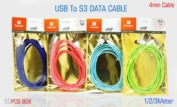 USB to S3 3 Mtr Data Cable Colour