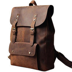 Bak Pak Brown Boys Leather Backpack Bag, Size: 12x5x28