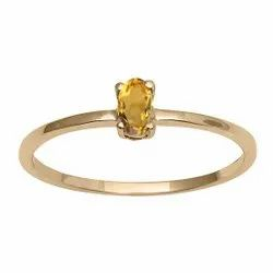 Stackable Pure Fine Gold 9k Citrine Gemstone Women Engagement Ring