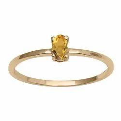 Stackable Pure Fine Gold 9k Citrine Gemstone Women Engagement Ring