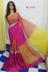 Formal Wear Multicolor Khadi Modhyamoni Saree, With Blouse, 5.5 M