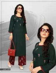 Doolly-Jhala Impex Straight Long And Side Cut Heavy Rayon With Hand Work Kurtis With Palazzo