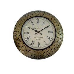 Wrought Iron and Gunmetal Round Wall Clock