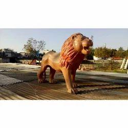 Brown FRP Lion Statue, For Exterior Decor