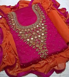 Embroidered Chanderi Khatli Ladies Embroidery Suits