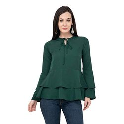 L Dark Green Girls Designer Top
