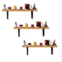 Brown Rubber Wood Wall Shelves