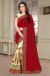 Maroon And Beige Color Designer Half And Half Georgette Saree
